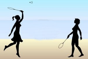 Girls playing badminton